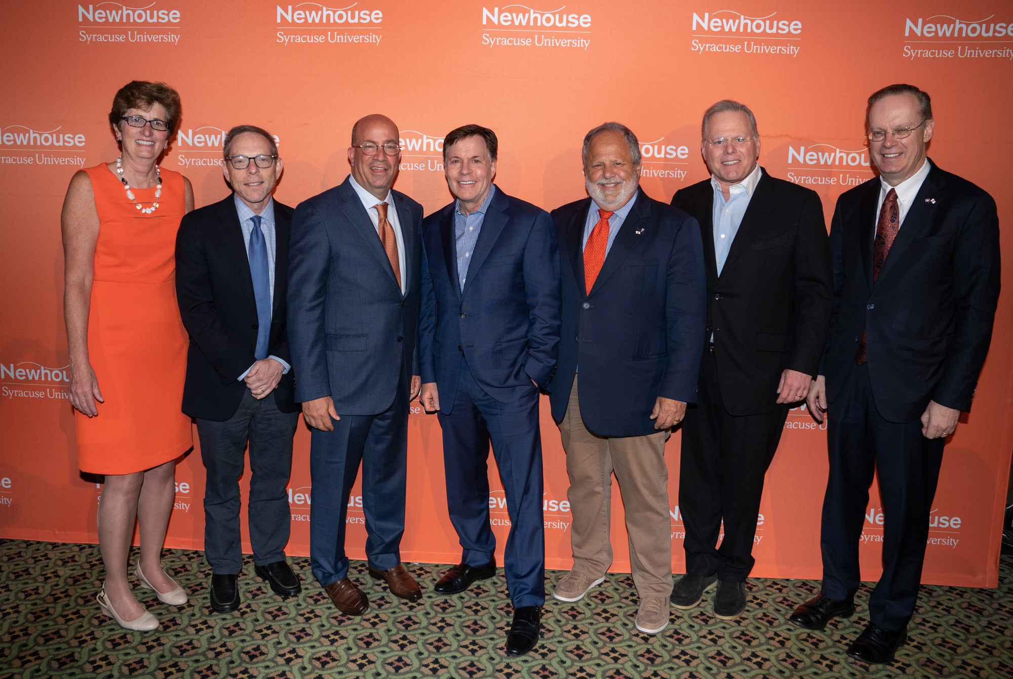 Amy Falkner, Sandy Montag, Jeff Zucker, Bob Costas, Larry Kramer, David Zaslav and Kent Syverud