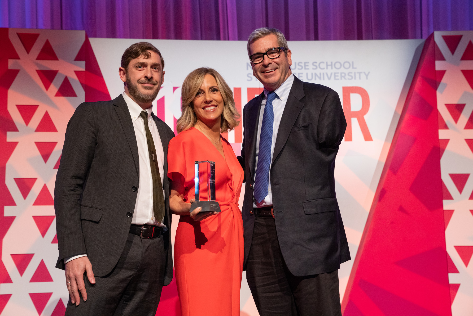 Best Story on Social Media in the Crosshairs co-winner Miles O'Brien (right) and his producer, Cameron Hickey, with Alisyn Camerota