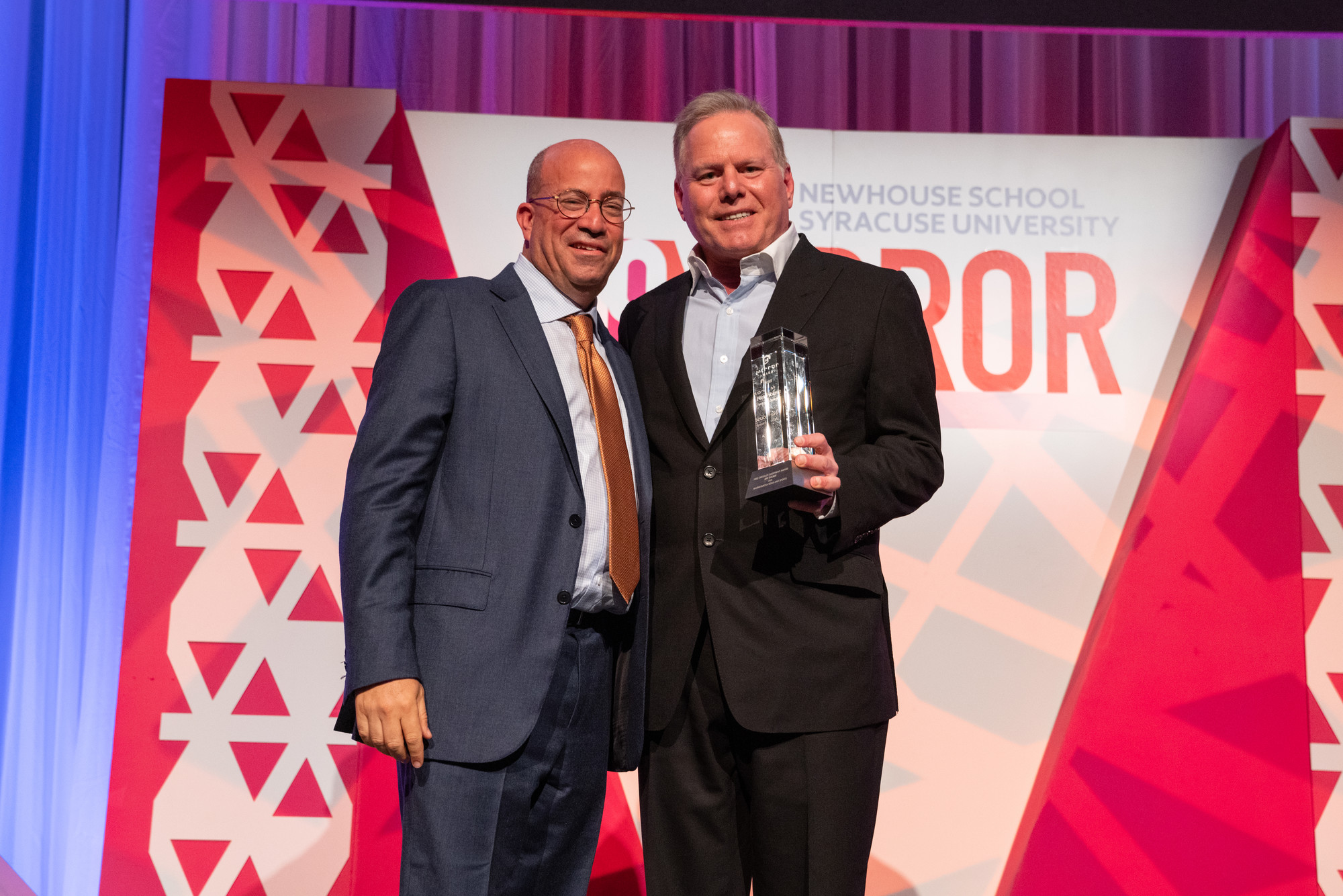 Discovery president and CEO David Zaslav (right) presents the Dressler Award to Jeff Zucker